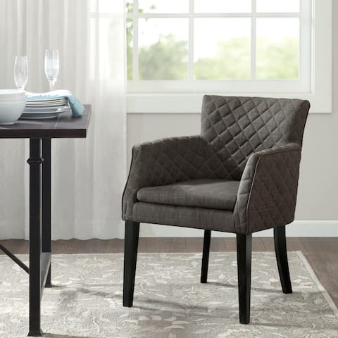 """Madison Park Nicole Charcoal Quilted Dining Chair - 24.5""""w x 25.25""""d x 32""""h"""