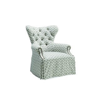 A.R.T. Furniture Ava Grey Linen Tufted Back Skirted Wing Chair