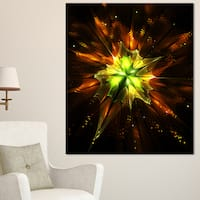 Designart 'Orange Yellow Green Fractal Flower' Flower Canvas Print Artwork