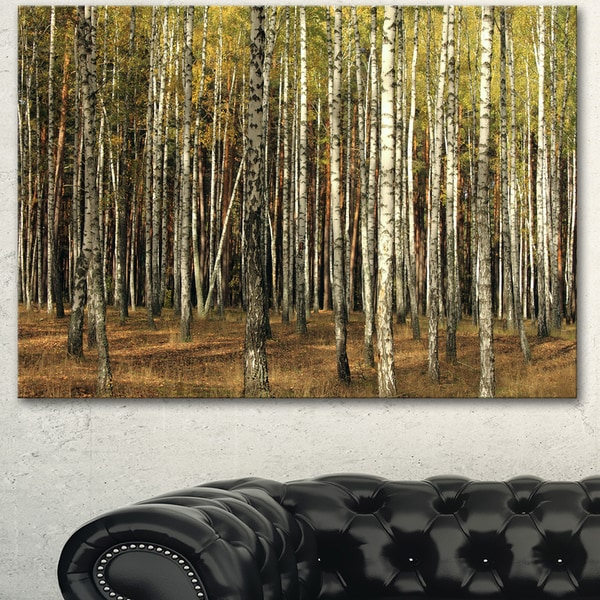 Designart 'Green Fall Forest with Thick Trees' Large Forest Canvas Art - Green