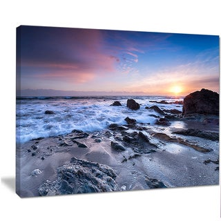 Designart 'Finnygook Beach in Cornwall at Sunset' Modern Seashore Canvas Art