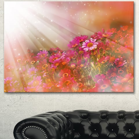 Designart 'Little Red and Pink Flowers Spring' Large Floral Canvas Artwork