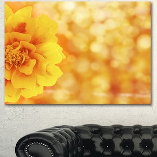 Designart 'Beautiful Floral Yellow Background' Large Floral Canvas Artwork