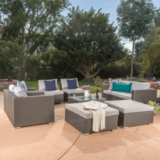 Santa Rosa 9-Piece Outdoor Wicker Sectional w/cushions by Christopher Knight Home