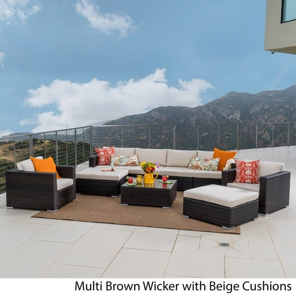 Santa Rosa Outdoor PE Wicker 9 Piece Sectional Sofa With Cushions