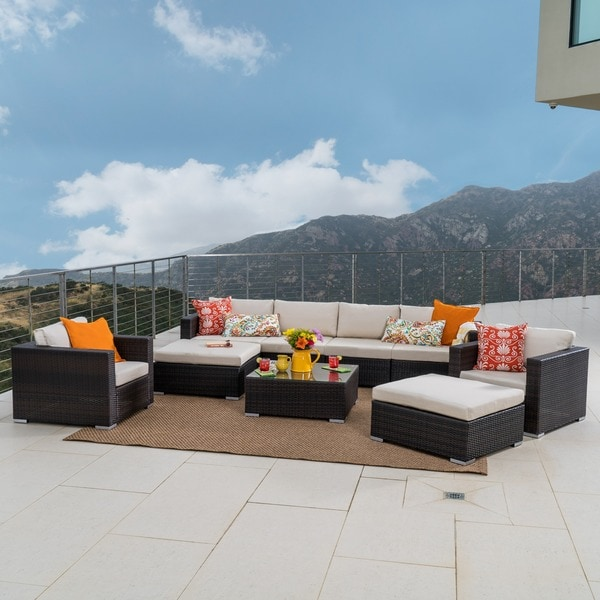 Santa Rosa Outdoor Wicker 9 Piece Sectional Sofa With Cushions