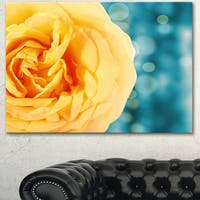 Designart 'Rose Flower with Lit-up Background' Large Floral Canvas Artwork - YELLOW
