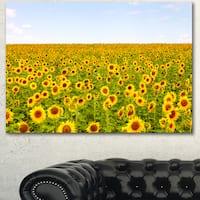 Designart 'Beautiful Sunflowers Garden' Flower Canvas Print Artwork - YELLOW