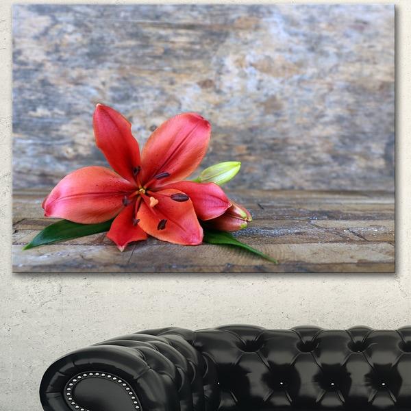 Designart 'Beautiful Fallen Red Lily Flower' Large Floral Canvas Artwork