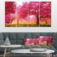 Designart 'Mysterious Red Cherry Blossoms' Large Landscape Canvas Art