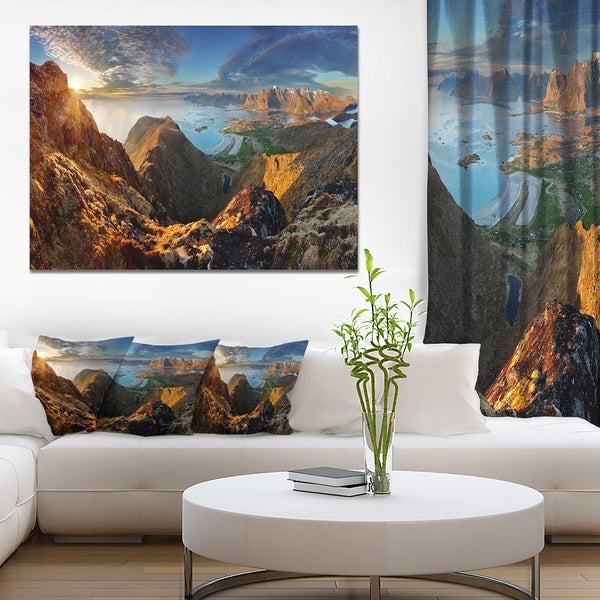 Shop Designart Ocean And Mountains Panorama Large Landscape Canvas