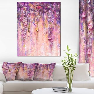 Pink and Violet Flowers Watercolor' Large Floral Canvas Artwork