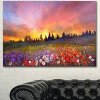 Designart 'Field of Poppy Dandelion and Daisy' Large Floral Canvas Artwork