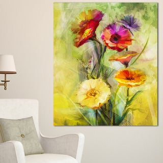 Designart 'Bouquet of Gerbera Flowers Watercolor' Large Floral Canvas Artwork