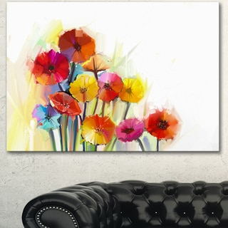 Designart 'Colorful Gerbera Flowers Watercolor' Large Floral Canvas Artwork