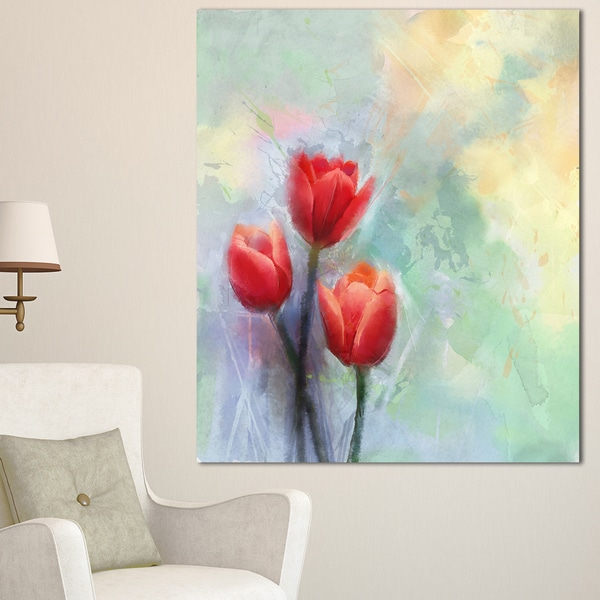 Designart 'Red Tulips on Light Blue Watercolor' Large Floral Canvas Artwork - Red