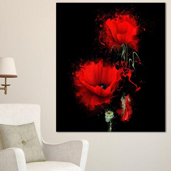 Designart 'Luxurious Red Poppy Flower on Black' Flower Canvas Print Artwork
