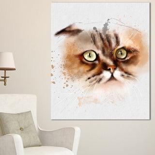 Designart 'Cute Brown Cat Watercolor Sketch' Large Animal Canvas Artwork