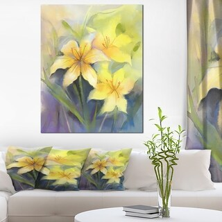 Watercolor Painting Yellow Lily Flower' Large Floral Canvas Artwork