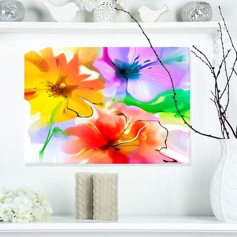 Designart 'Bunch of Colorful Flowers Sketch' Extra Large Floral Wall Art - Yellow