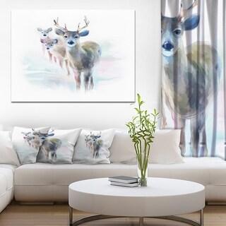 Designart 'Beautiful Deer With Big Horns' Modern Animal Canvas Wall Artwork