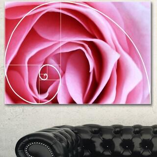 Designart 'Pink Flower with Spiral Arrangement' Modern Floral Wall Artwork
