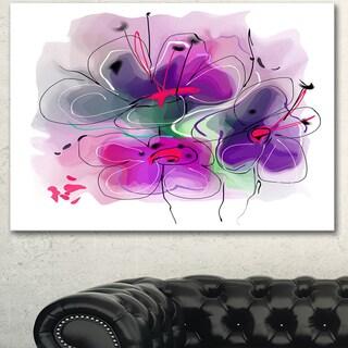 Designart 'Purple Flower Illustration Sketch' Modern Flower Artwork Canvas