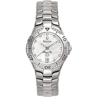 Bulova Ladies 98R002 Marine Star Stainless Steel and Diamond Watch with a Mother of Pearl Dial