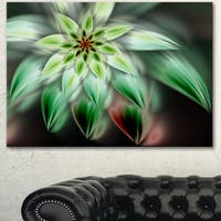 Designart 'Green Flower Fractal Artwork' Modern Floral Wall Artwork - Green