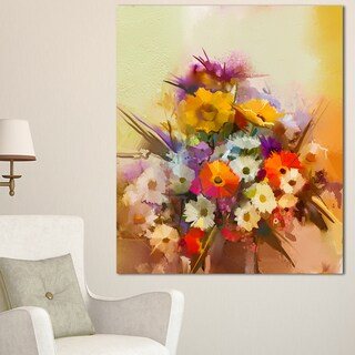 Designart 'Hand-painted Bouquet of Flowers' Modern Floral Wall Art Canvas - YELLOW (5 options available)