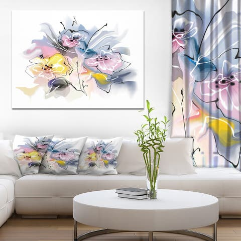 Designart 'Textured Floral Drawing' Extra Large Floral Wall Art - White