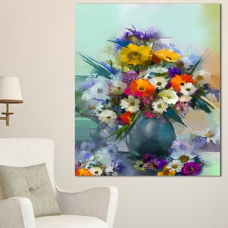 Designart 'Hand-painted Bunch of Small Flowers' Modern Floral Wall Art Canvas - White (5 options available)
