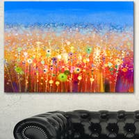 Designart 'Abstract Flower Field Watercolor Painting' Modern Floral Wall Art Canvas