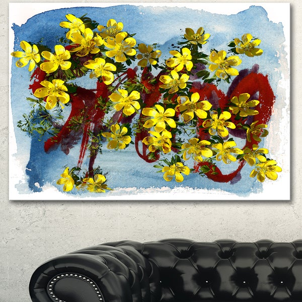 Designart 'Lettering and Yellow Spring Flowers' Floral Canvas Artwork