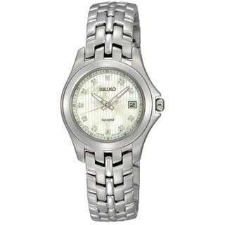 Seiko Women's SXD11 Stainless Steel and Diamond Watch with a Date and a Mother of Pearl Dial