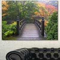 Designart 'Wood Bridge at Japanese Garden In Fall' Large Bridge Canvas Wall Artwork