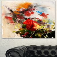 Designart 'Roses and Sunny Day Watercolor' Floral Canvas Artwork - Red