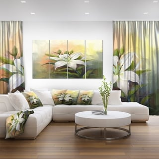 Designart 'White Lily Flower Oil Painting' Modern Floral Wall Art Canvas
