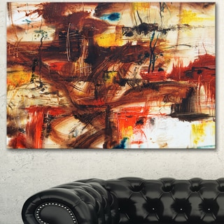 Designart 'Watercolor Red and Yellow Spots' Large Abstract Canvas Artwork