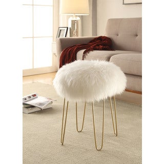 Poly and Bark Shailene Sheepskin Stool with Metal Legs