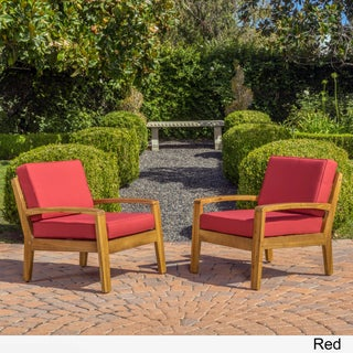 Grenada Outdoor Wooden Club Chair w/ Cushions (Set of 2) by Christopher Knight Home (3 options available)