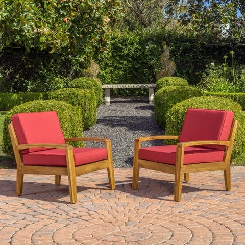 Grenada Outdoor Cushioned Wood Club Chairs (Set of 2) by Christopher Knight Home