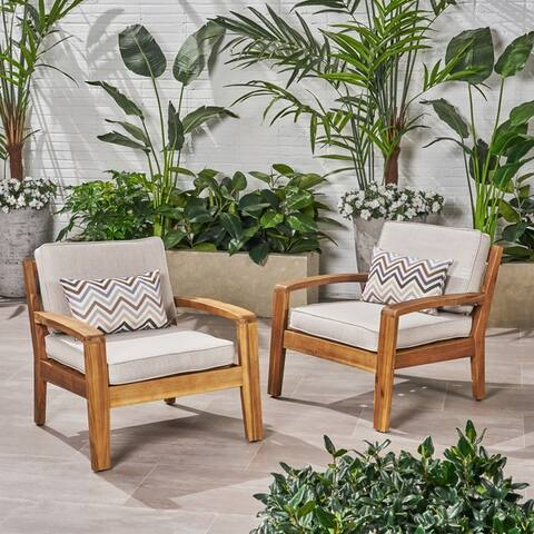 Grenada Outdoor Wood Club Chairs (Set of 2) by Christopher Knight Home