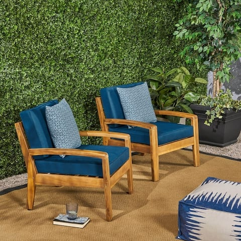 Grenada Outdoor Wooden Club Chair with Cushions (Set of 2) by Christopher Knight Home