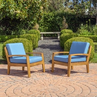 Grenada Outdoor Wooden Club Chair W/ Cushions (Set Of 2) By Christopher  Knight