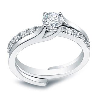 Auriya Platinum 1ct TDW Round Diamond Bridal Ring Set (H-I, I1-I2)