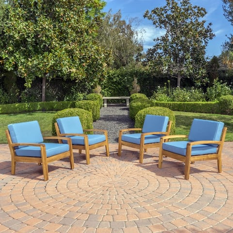 Grenada Outdoor Acacia Wood Club Chairs with Cushions (Set of 4) by Christopher Knight Home