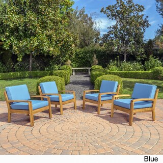 Grenada Outdoor Wooden Club Chair w/ Cushions (Set of 4) by Christopher Knight Home (Option: Blue)