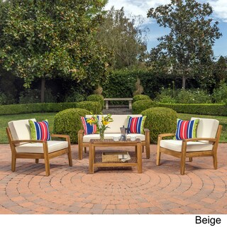 Grenada 4-Piece Outdoor Wood Chat Set w/ Cushions by Christopher Knight Home (Option: Beige)