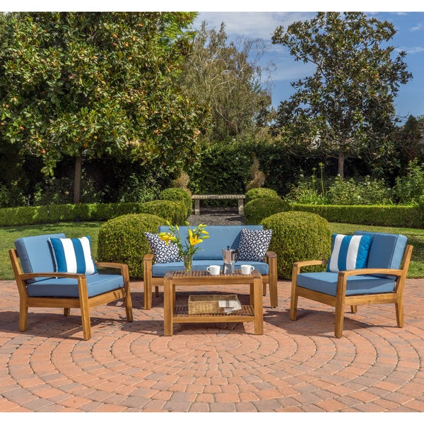 Grenada 4 Piece Outdoor Wood Chat Set With Cushions By Christopher Knight Home
